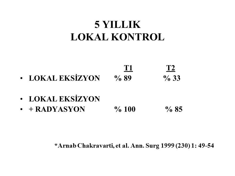 5 YILLIK LOKAL KONTROL T1 T2 LOKAL EKSİZYON % 89 % 33 LOKAL EKSİZYON + RADYASYON % 100 % 85 *Arnab Chakravarti, et al. Ann. Surg 1999 (230) 1: 49-54