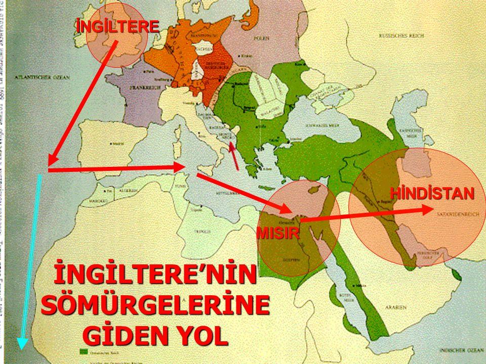 İNGİLTERE'NİN SÖMÜRGELERİNE GİDEN YOL HİNDİSTAN İNGİLTERE MISIR