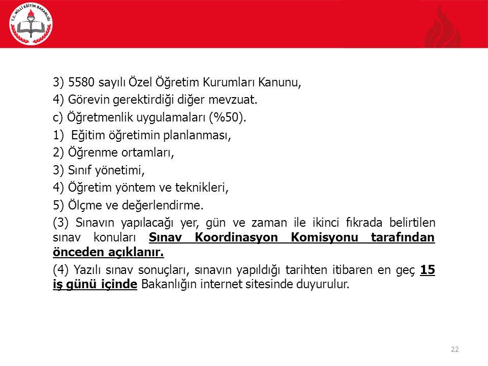 22 3) 5580 sayılı Özel Öğretim Kurumları Kanunu, 4) Görevin gerektirdiği diğer mevzuat.