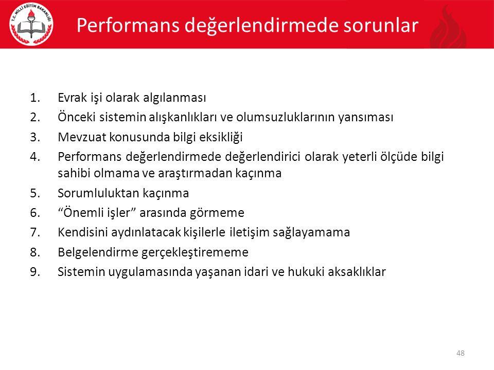 Performans değerlendirmede sorunlar 1.Evrak işi olarak algılanması 2.Önceki sistemin alışkanlıkları ve olumsuzluklarının yansıması 3.Mevzuat konusunda