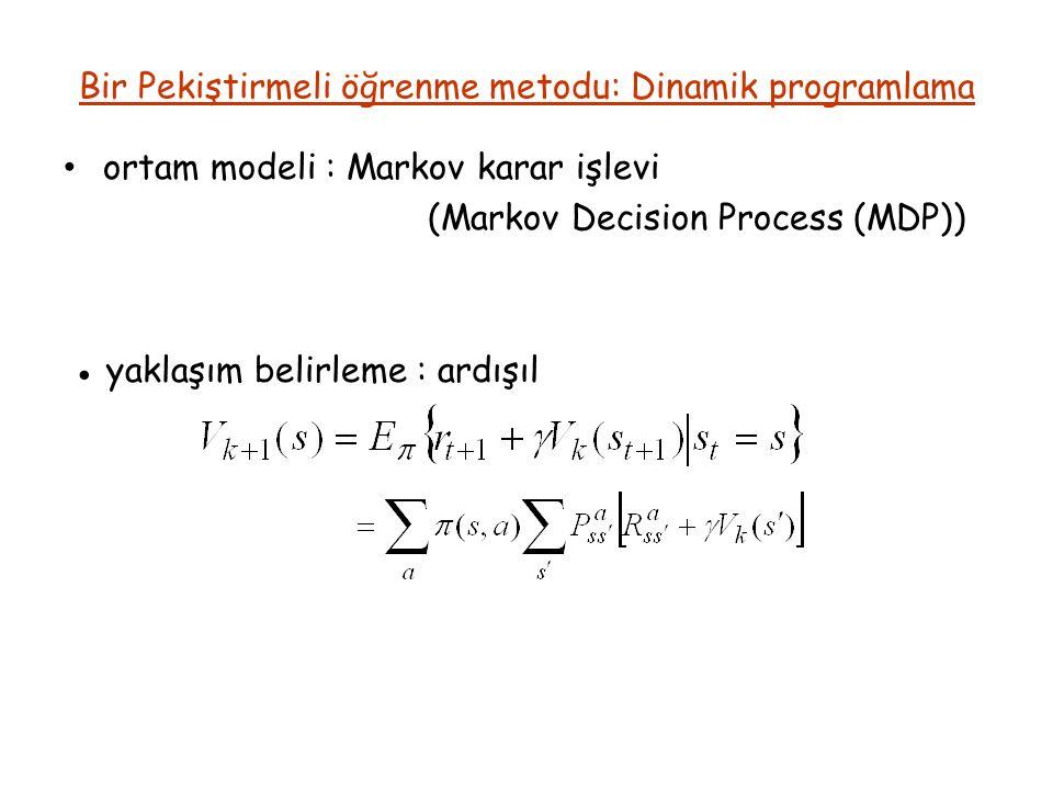 Bir Pekiştirmeli öğrenme metodu: Dinamik programlama ortam modeli : Markov karar işlevi (Markov Decision Process (MDP)) ● yaklaşım belirleme : ardışıl
