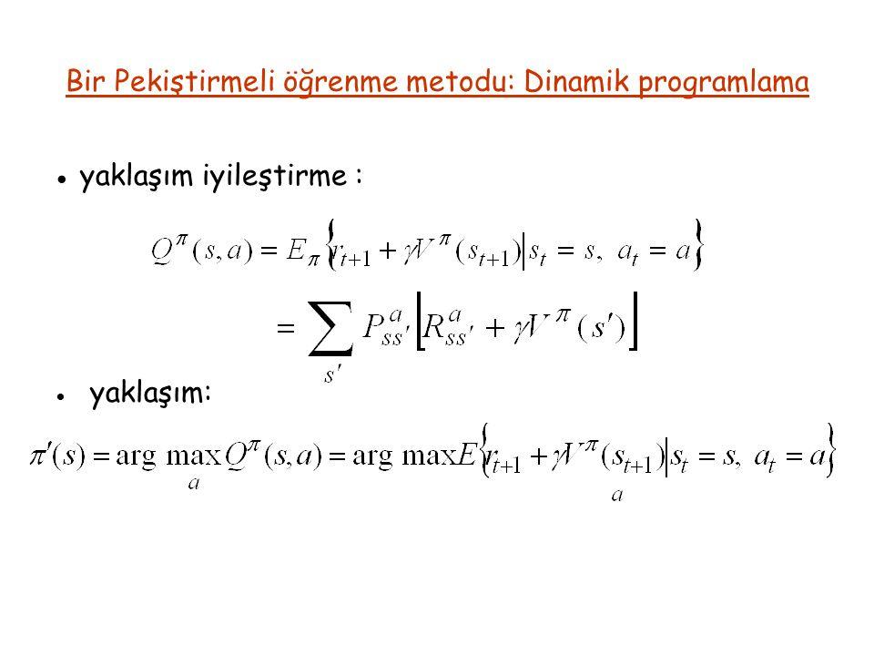 Bir Pekiştirmeli öğrenme metodu: Dinamik programlama ● yaklaşım iyileştirme : ● yaklaşım: