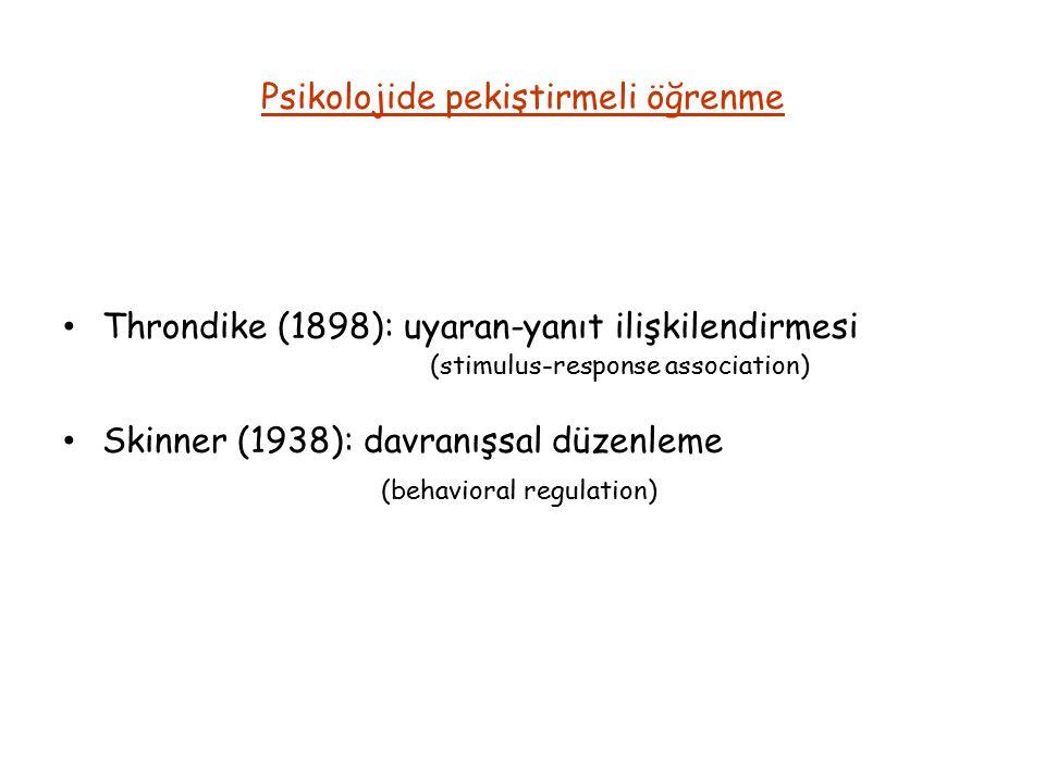 Psikolojide pekiştirmeli öğrenme Throndike (1898): uyaran-yanıt ilişkilendirmesi (stimulus-response association) Skinner (1938): davranışsal düzenleme (behavioral regulation)