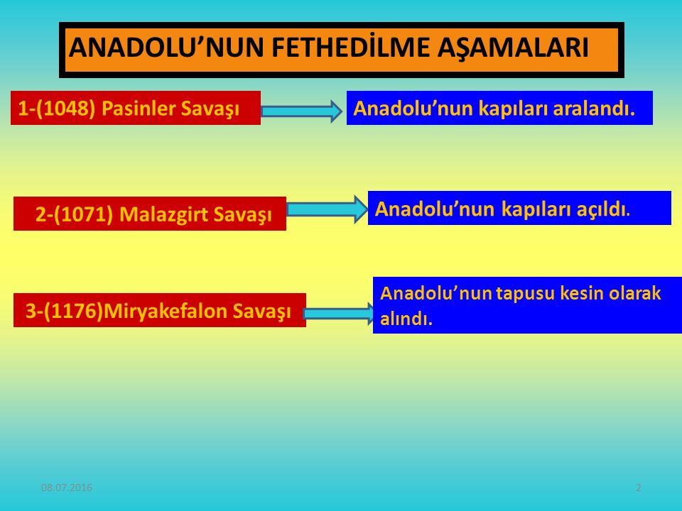 ANADOLU'NUN FETHEDİLME AŞAMALARI 2-(1071) Malazgirt Savaşı 1-(1048) Pasinler Savaşı 3-(1176)Miryakefalon Savaşı Anadolu'nun kapıları aralandı.