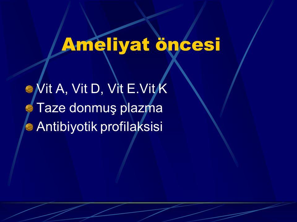 Ameliyat öncesi Vit A, Vit D, Vit E.Vit K Taze donmuş plazma Antibiyotik profilaksisi