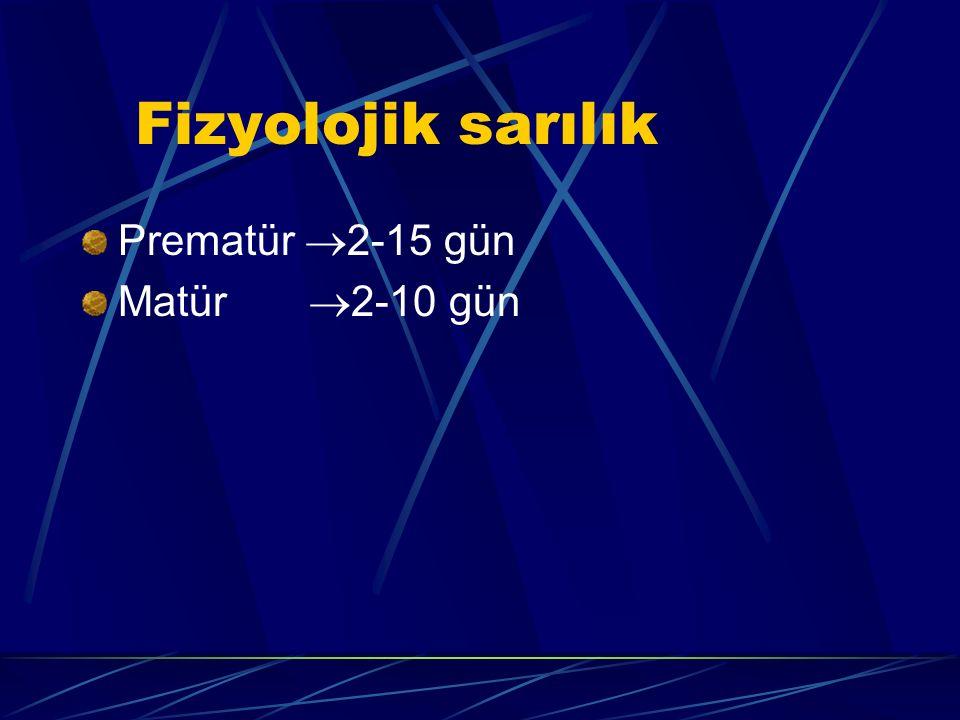 Fizyolojik sarılık Prematür  2-15 gün Matür  2-10 gün
