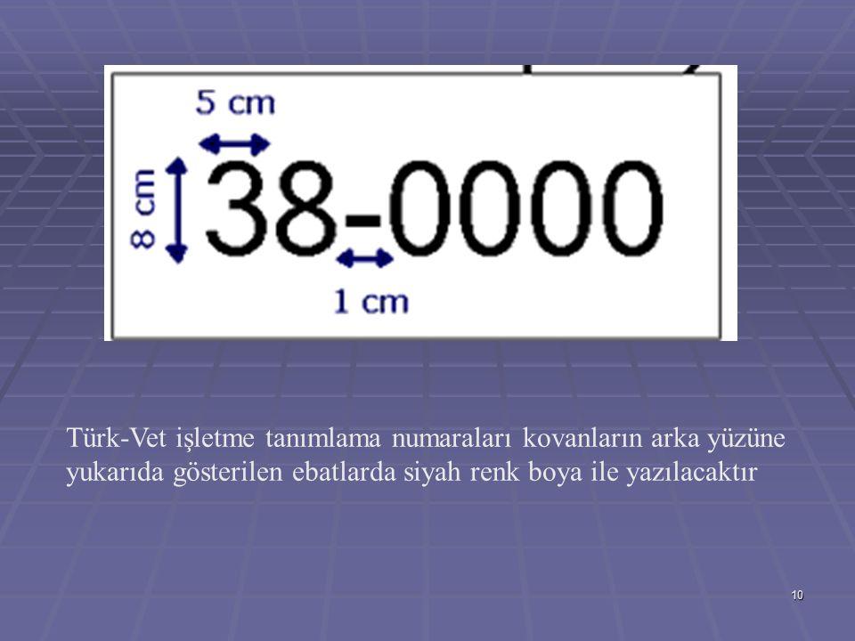 10 Türk-Vet işletme tanımlama numaraları kovanların arka yüzüne yukarıda gösterilen ebatlarda siyah renk boya ile yazılacaktır
