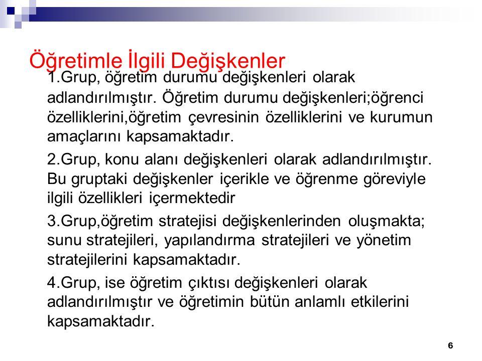 6 Öğretimle İlgili Değişkenler 1.Grup, öğretim durumu değişkenleri olarak adlandırılmıştır. Öğretim durumu değişkenleri;öğrenci özelliklerini,öğretim