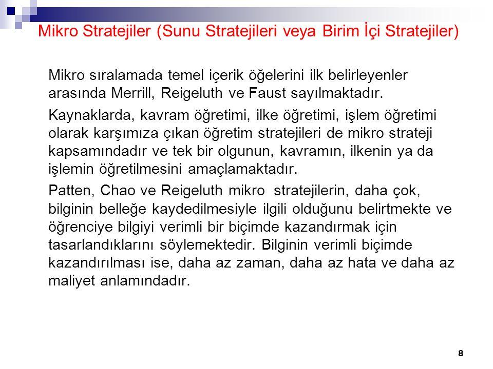 8 Mikro Stratejiler (Sunu Stratejileri veya Birim İçi Stratejiler) Mikro sıralamada temel içerik öğelerini ilk belirleyenler arasında Merrill, Reigelu