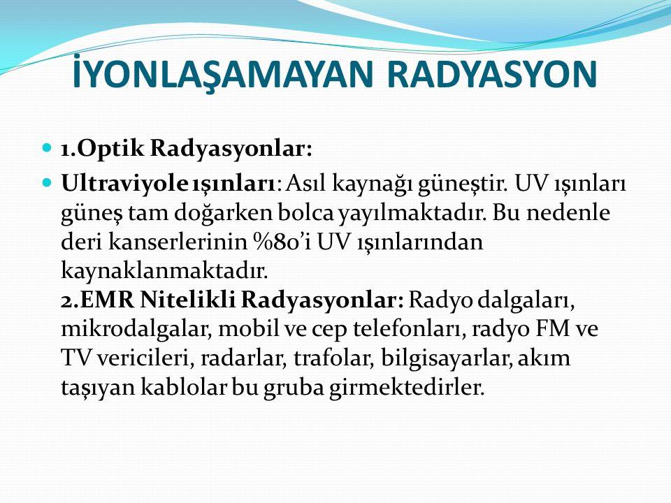 İYONLAŞAMAYAN RADYASYON 1.Optik Radyasyonlar: Ultraviyole ışınları: Asıl kaynağı güneştir. UV ışınları güneş tam doğarken bolca yayılmaktadır. Bu nede