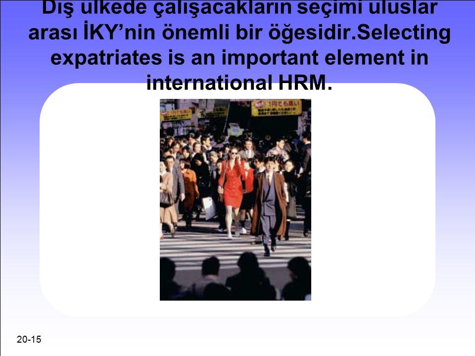 20-15 Dış ülkede çalışacakların seçimi uluslar arası İKY'nin önemli bir öğesidir.Selecting expatriates is an important element in international HRM.