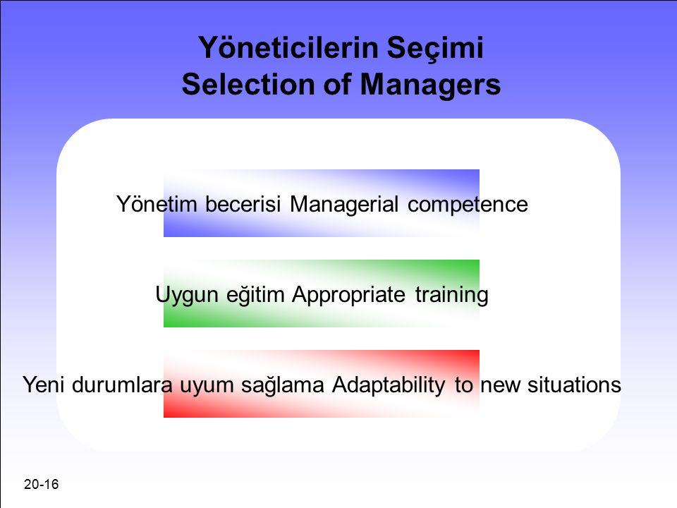 20-16 Yöneticilerin Seçimi Selection of Managers Yönetim becerisi Managerial competence Uygun eğitim Appropriate training Yeni durumlara uyum sağlama Adaptability to new situations