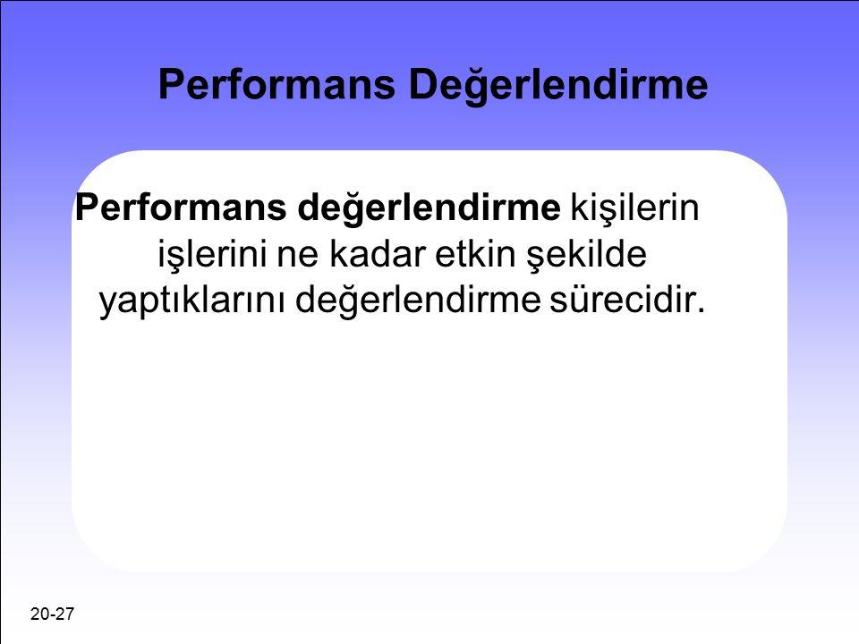 20-27 Performans Değerlendirme Performans değerlendirme kişilerin işlerini ne kadar etkin şekilde yaptıklarını değerlendirme sürecidir.