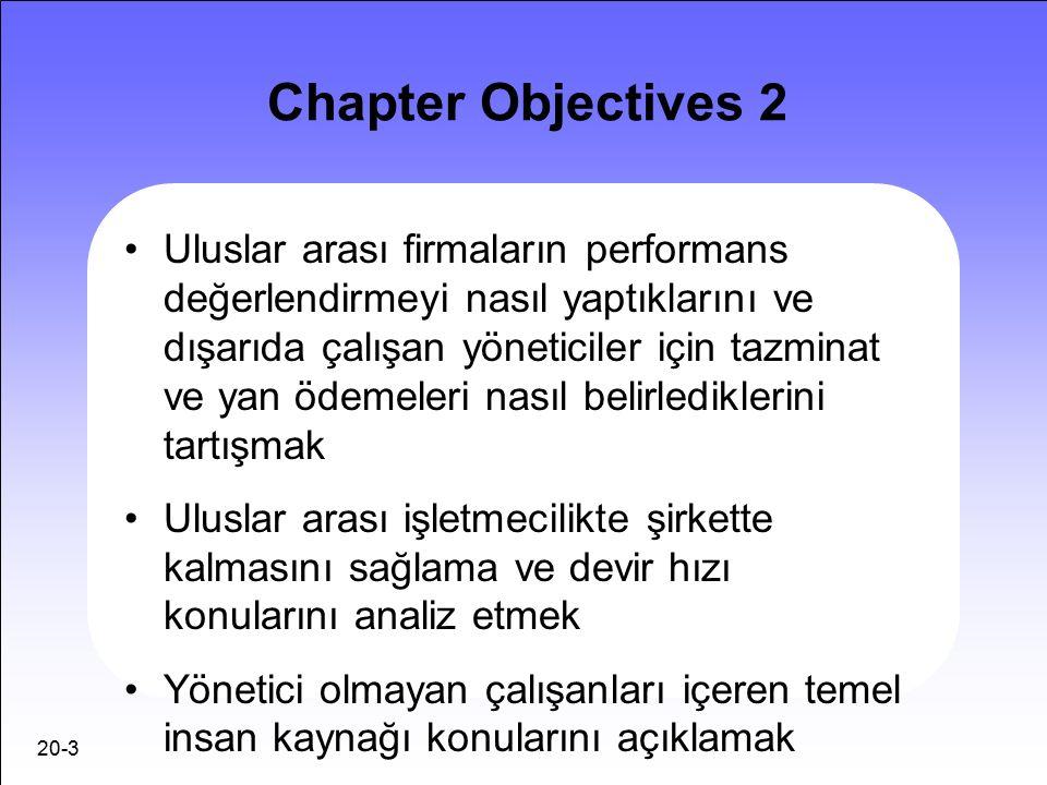 20-3 Chapter Objectives 2 Uluslar arası firmaların performans değerlendirmeyi nasıl yaptıklarını ve dışarıda çalışan yöneticiler için tazminat ve yan ödemeleri nasıl belirlediklerini tartışmak Uluslar arası işletmecilikte şirkette kalmasını sağlama ve devir hızı konularını analiz etmek Yönetici olmayan çalışanları içeren temel insan kaynağı konularını açıklamak