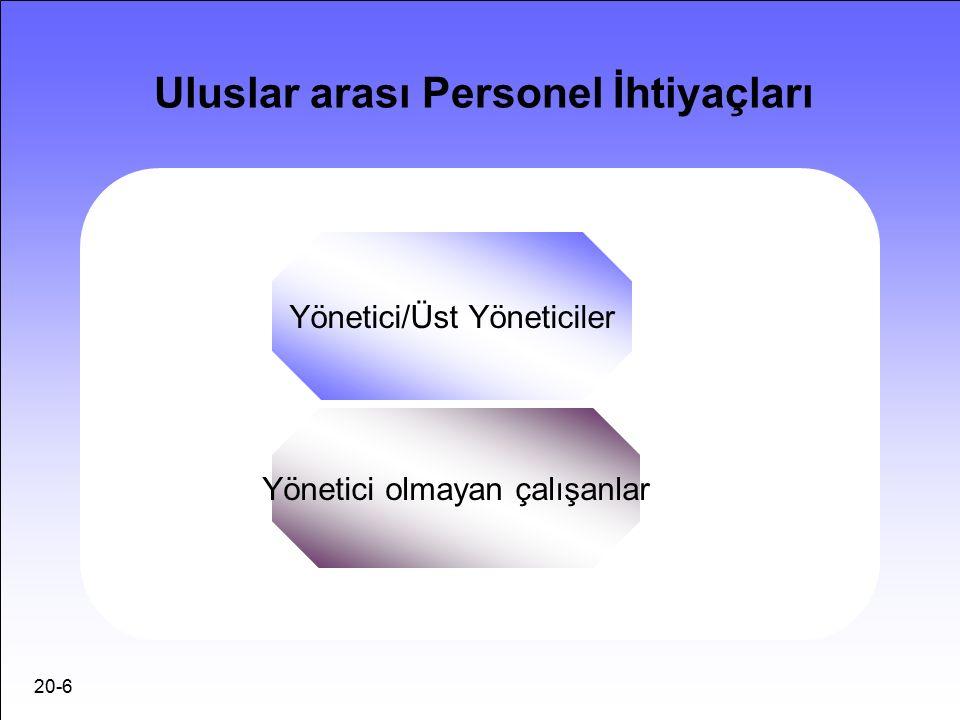 20-6 Uluslar arası Personel İhtiyaçları Yönetici/Üst Yöneticiler Yönetici olmayan çalışanlar