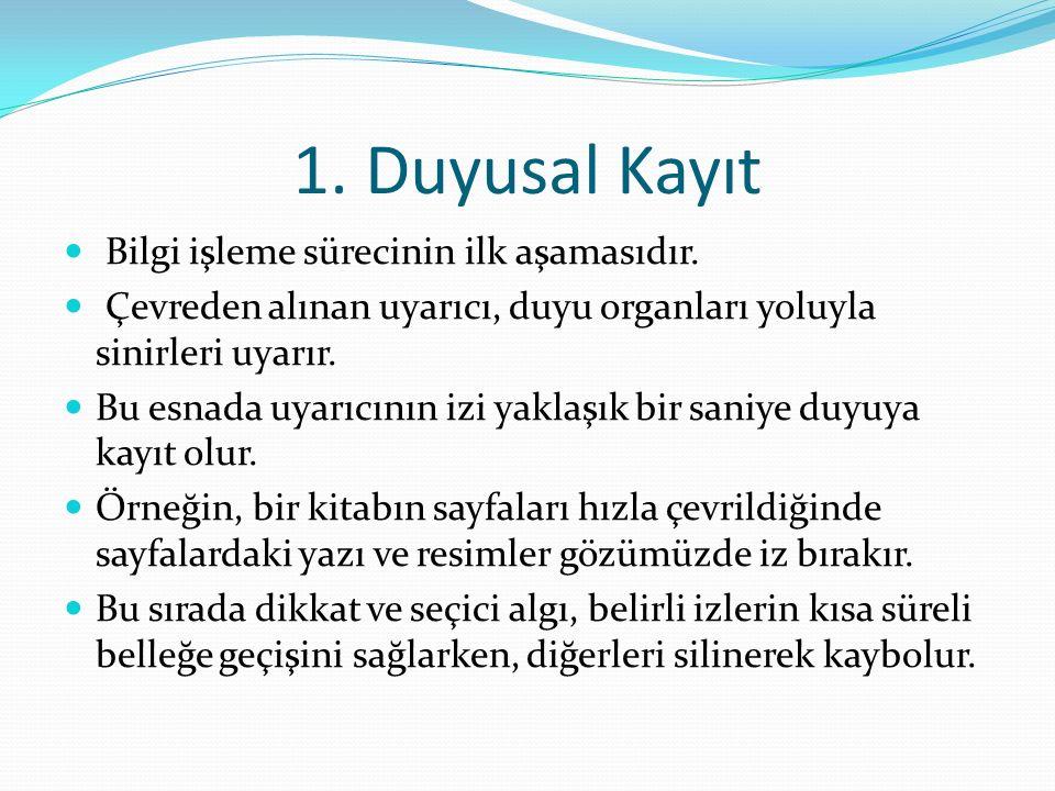 1.Duyusal Kayıt Bilgi işleme sürecinin ilk aşamasıdır.