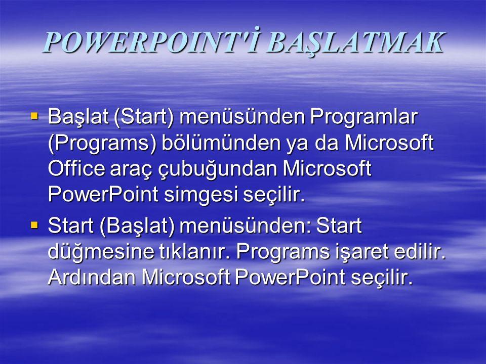 POWERPOINT İ BAŞLATMAK  Başlat (Start) menüsünden Programlar (Programs) bölümünden ya da Microsoft Office araç çubuğundan Microsoft PowerPoint simgesi seçilir.