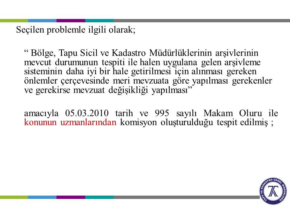 Seçilen problemle ilgili olarak; Bölge, Tapu Sicil ve Kadastro Müdürlüklerinin arşivlerinin mevcut durumunun tespiti ile halen uygulana gelen arşivleme sisteminin daha iyi bir hale getirilmesi için alınması gereken önlemler çerçevesinde meri mevzuata göre yapılması gerekenler ve gerekirse mevzuat değişikliği yapılması amacıyla 05.03.2010 tarih ve 995 sayılı Makam Oluru ile konunun uzmanlarından komisyon oluşturulduğu tespit edilmiş ;