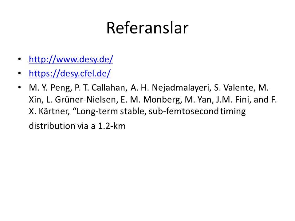 Referanslar http://www.desy.de/ https://desy.cfel.de/ M. Y. Peng, P. T. Callahan, A. H. Nejadmalayeri, S. Valente, M. Xin, L. Grüner-Nielsen, E. M. Mo