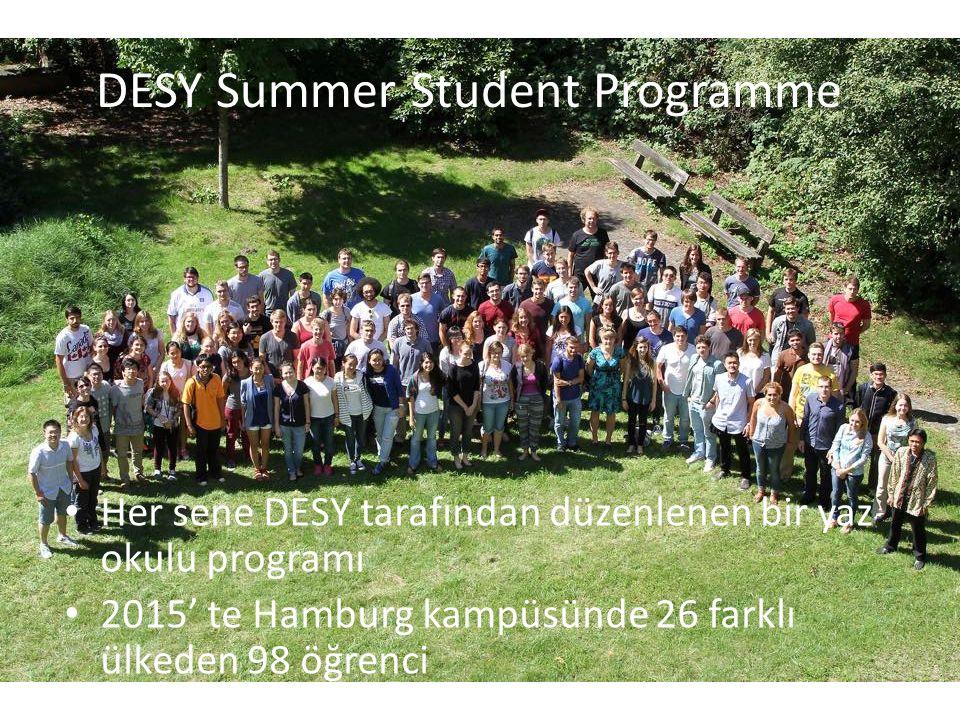 DESY Summer Student Programme Her sene DESY tarafından düzenlenen bir yaz okulu programı 2015' te Hamburg kampüsünde 26 farklı ülkeden 98 öğrenci