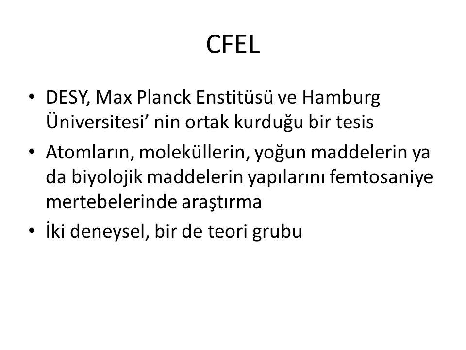 CFEL DESY, Max Planck Enstitüsü ve Hamburg Üniversitesi' nin ortak kurduğu bir tesis Atomların, moleküllerin, yoğun maddelerin ya da biyolojik maddele