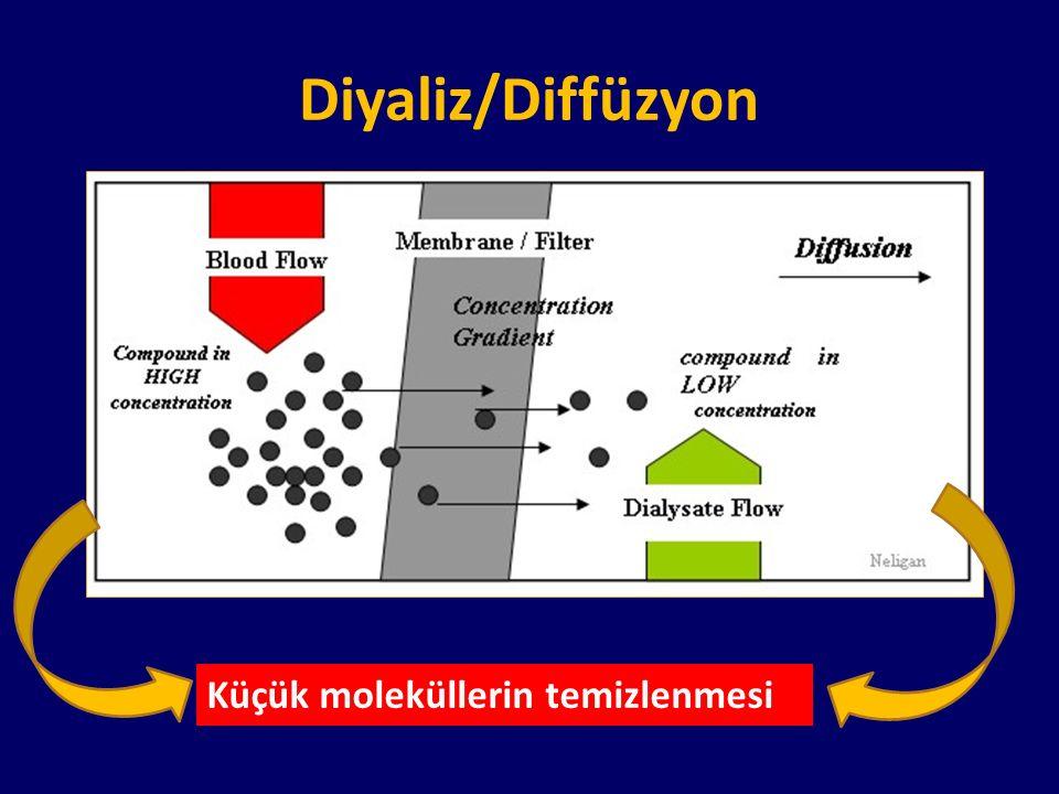 Diyaliz/Diffüzyon Küçük moleküllerin temizlenmesi