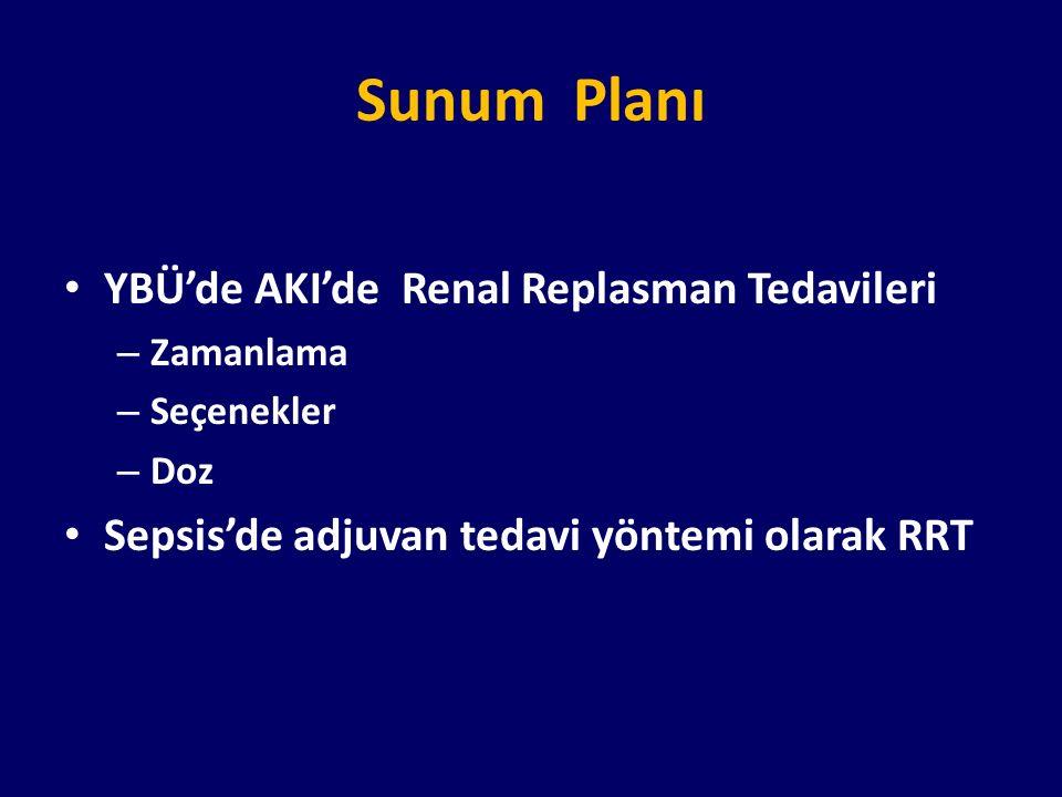 Sunum Planı YBÜ'de AKI'de Renal Replasman Tedavileri – Zamanlama – Seçenekler – Doz Sepsis'de adjuvan tedavi yöntemi olarak RRT