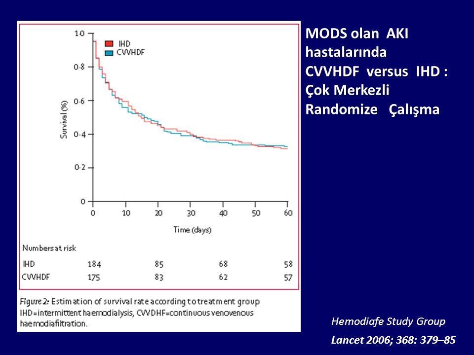Lancet 2006; 368: 379–85 Hemodiafe Study Group MODS olan AKI hastalarında CVVHDF versus IHD : Çok Merkezli Randomize Çalışma