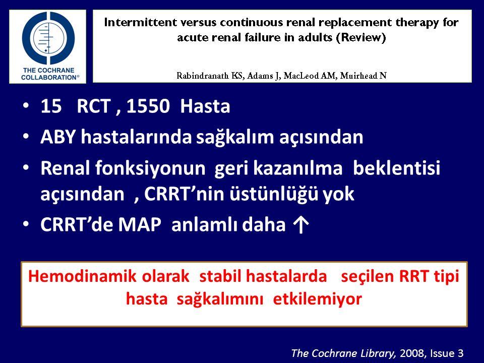 15 RCT, 1550 Hasta ABY hastalarında sağkalım açısından Renal fonksiyonun geri kazanılma beklentisi açısından, CRRT'nin üstünlüğü yok CRRT'de MAP anlam
