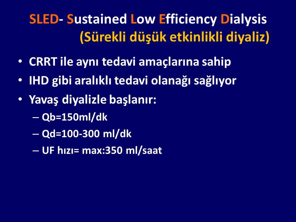 SLED- Sustained Low Efficiency Dialysis (Sürekli düşük etkinlikli diyaliz) CRRT ile aynı tedavi amaçlarına sahip IHD gibi aralıklı tedavi olanağı sağl