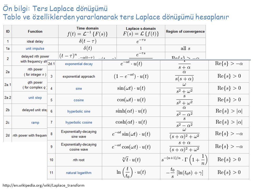 Ön bilgi: Ters Laplace dönüşümü Tablo ve özelliklerden yararlanarak ters Laplace dönüşümü hesaplanır http://en.wikipedia.org/wiki/Laplace_transform