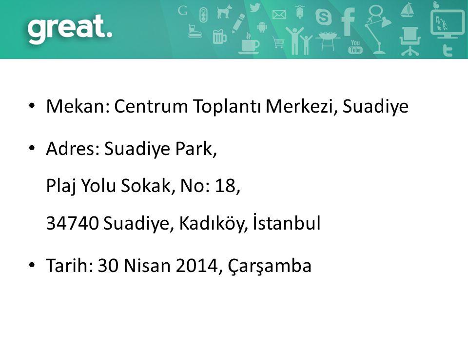 Mekan: Centrum Toplantı Merkezi, Suadiye Adres: Suadiye Park, Plaj Yolu Sokak, No: 18, 34740 Suadiye, Kadıköy, İstanbul Tarih: 30 Nisan 2014, Çarşamba