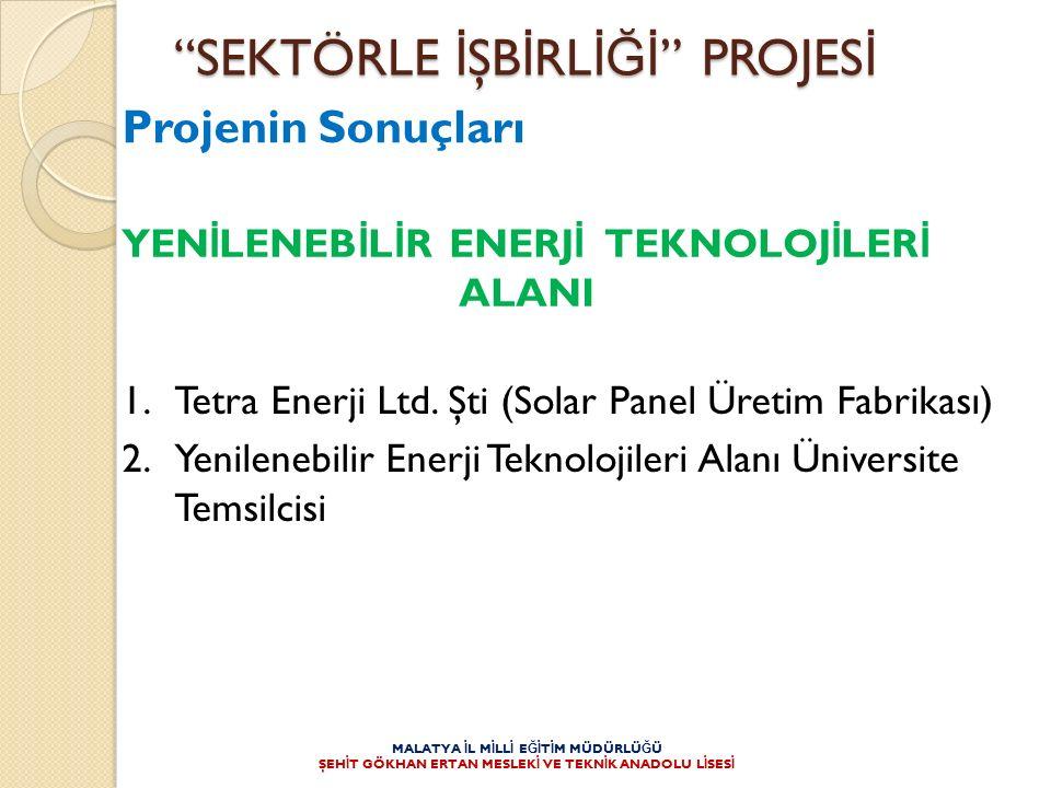 1.Tetra Enerji Ltd. Şti (Solar Panel Üretim Fabrikası) 2.Yenilenebilir Enerji Teknolojileri Alanı Üniversite Temsilcisi YEN İ LENEB İ L İ R ENERJ İ TE