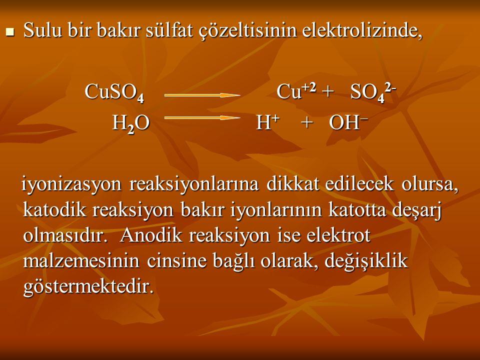 Sulu bir bakır sülfat çözeltisinin elektrolizinde, Sulu bir bakır sülfat çözeltisinin elektrolizinde, CuSO 4 Cu +2 + SO 4 2- H 2 OH + + OH  iyonizasy