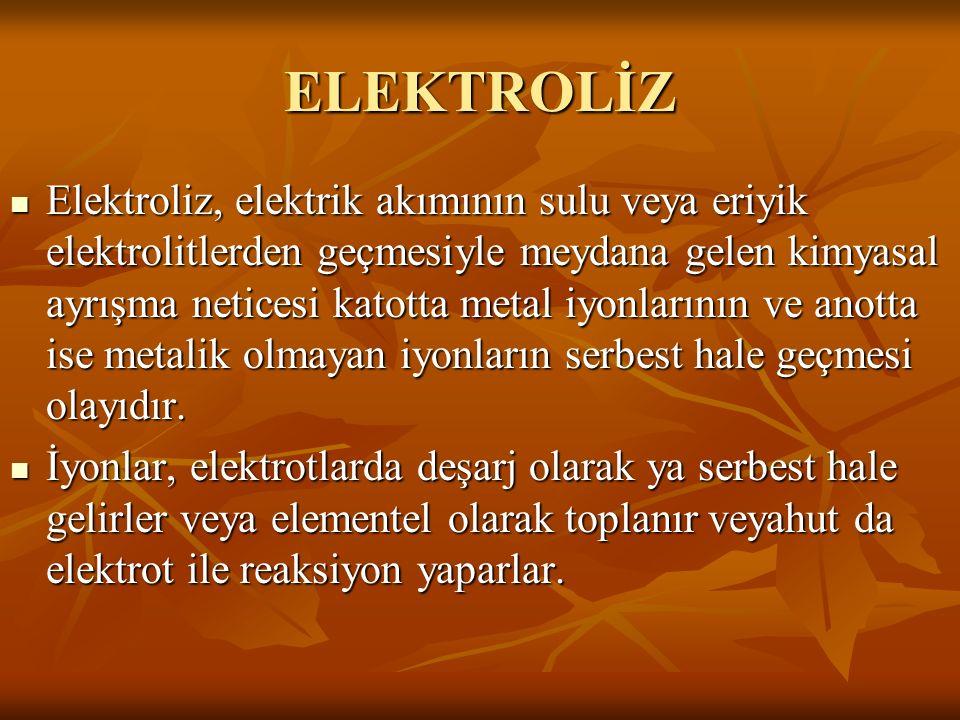 ELEKTROLİZ Elektroliz, elektrik akımının sulu veya eriyik elektrolitlerden geçmesiyle meydana gelen kimyasal ayrışma neticesi katotta metal iyonlarını