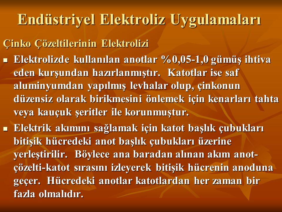 Endüstriyel Elektroliz Uygulamaları Çinko Çözeltilerinin Elektrolizi Elektrolizde kullanılan anotlar %0,05-1,0 gümüş ihtiva eden kurşundan hazırlanmış