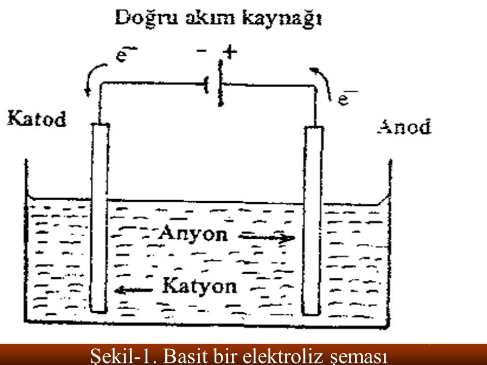 Elektroliz esnasında negatif elektrikle yüklü elektrot katot , pozitif yüklü olan ise anot olarak adlandırılır.