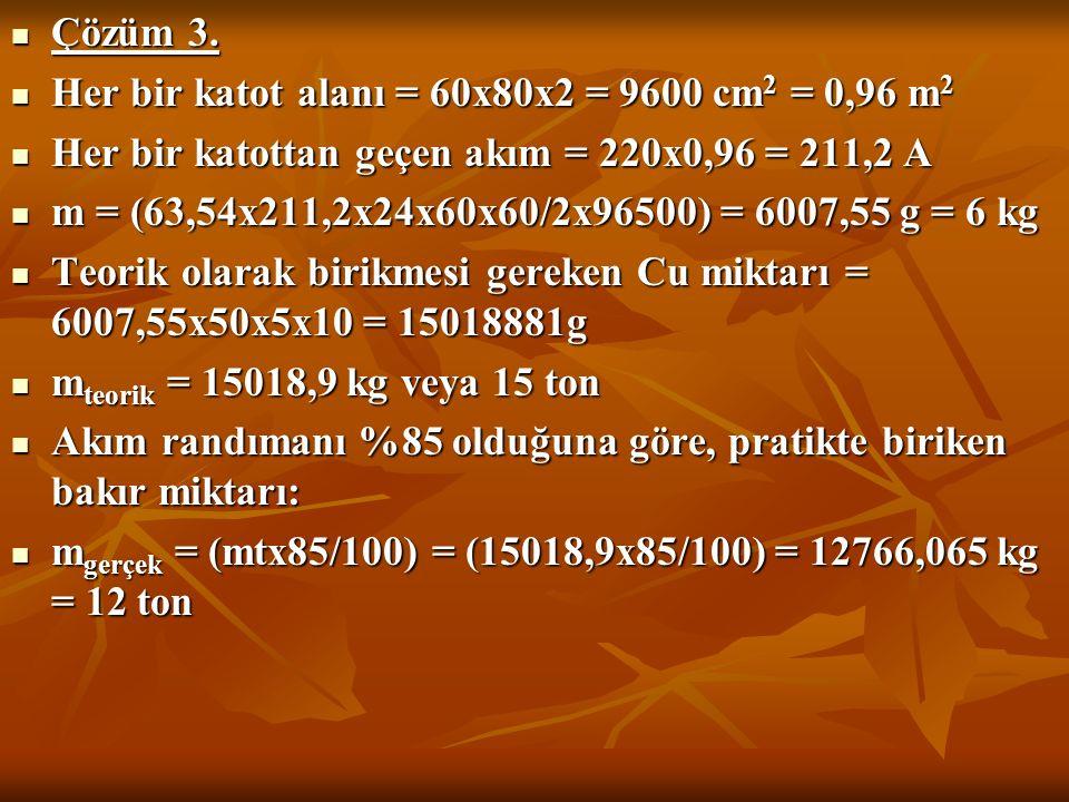 Çözüm 3. Çözüm 3. Her bir katot alanı = 60x80x2 = 9600 cm 2 = 0,96 m 2 Her bir katot alanı = 60x80x2 = 9600 cm 2 = 0,96 m 2 Her bir katottan geçen akı