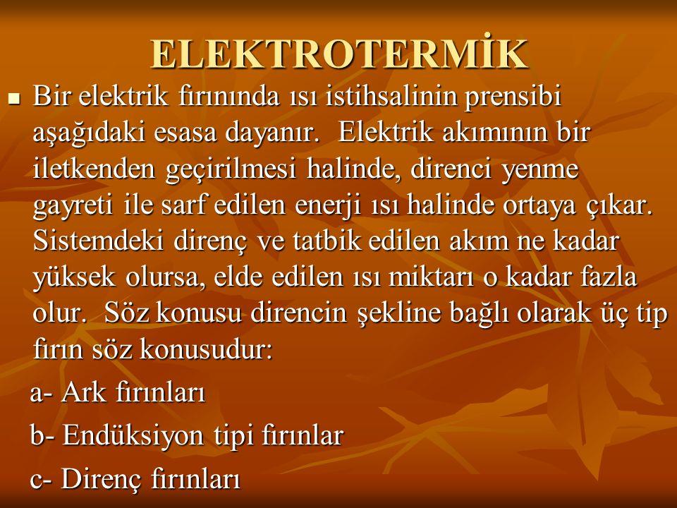 ELEKTROTERMİK Bir elektrik fırınında ısı istihsalinin prensibi aşağıdaki esasa dayanır. Elektrik akımının bir iletkenden geçirilmesi halinde, direnci