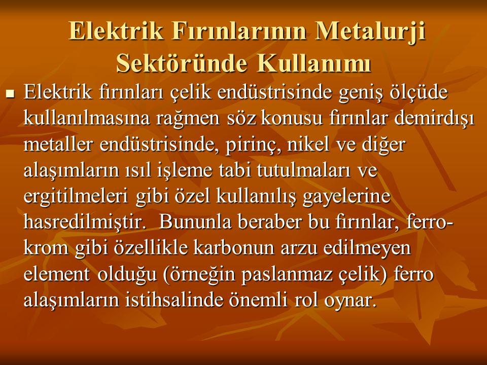 Elektrik Fırınlarının Metalurji Sektöründe Kullanımı Elektrik Fırınlarının Metalurji Sektöründe Kullanımı Elektrik fırınları çelik endüstrisinde geniş