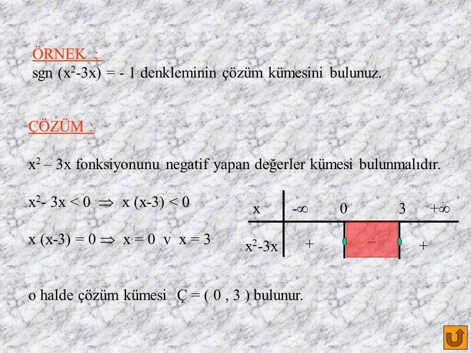 ÖRNEK : sgn (x 2 -3x) = - 1 denkleminin çözüm kümesini bulunuz.