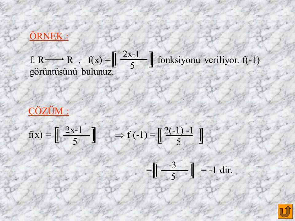 ÖRNEK : f: R R, f(x) = fonksiyonu veriliyor. f(-1) görüntüsünü bulunuz.