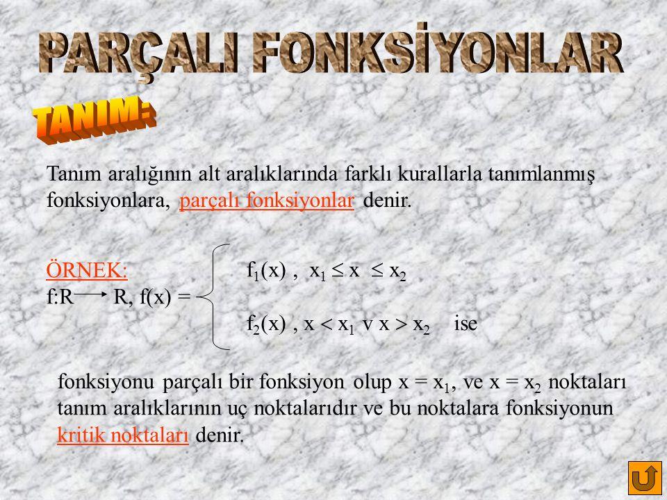 Tanım aralığının alt aralıklarında farklı kurallarla tanımlanmış fonksiyonlara, parçalı fonksiyonlar denir.