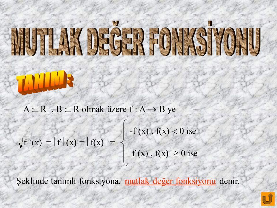 A  R, B  R olmak üzere f : A  B ye =  f  (x) =  f(x)  = -f (x), f(x)  0 ise f (x), f(x)  0 ise Şeklinde tanımlı fonksiyona, mutlak değer fonksiyonu denir.