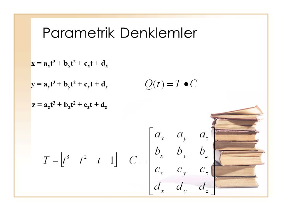 Parametrik Denklemler x = a x t 3 + b x t 2 + c x t + d x y = a y t 3 + b y t 2 + c y t + d y z = a z t 3 + b z t 2 + c z t + d z