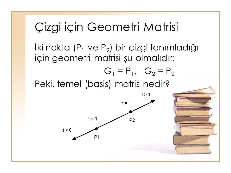 Çizgi için Geometri Matrisi İki nokta (P 1 ve P 2 ) bir çizgi tanımladığı için geometri matrisi şu olmalıdır: G 1 = P 1, G 2 = P 2 Peki, temel (basis)