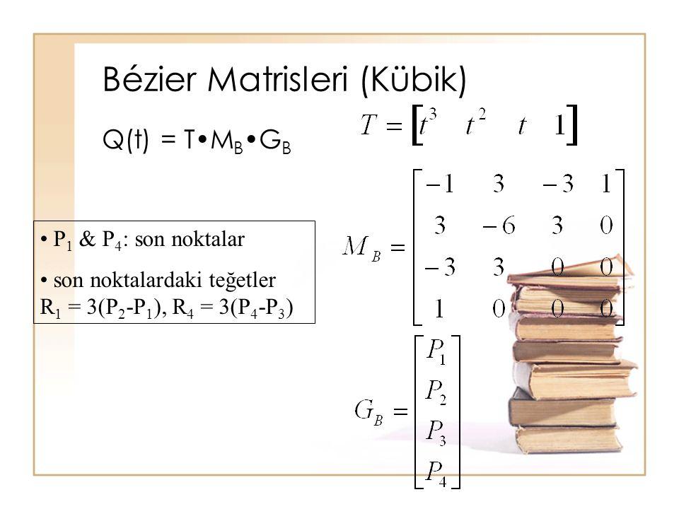 Bézier Matrisleri (Kübik) Q(t) = TM BG B P 1 & P 4 : son noktalar son noktalardaki teğetler R 1 = 3(P 2 -P 1 ), R 4 = 3(P 4 -P 3 )