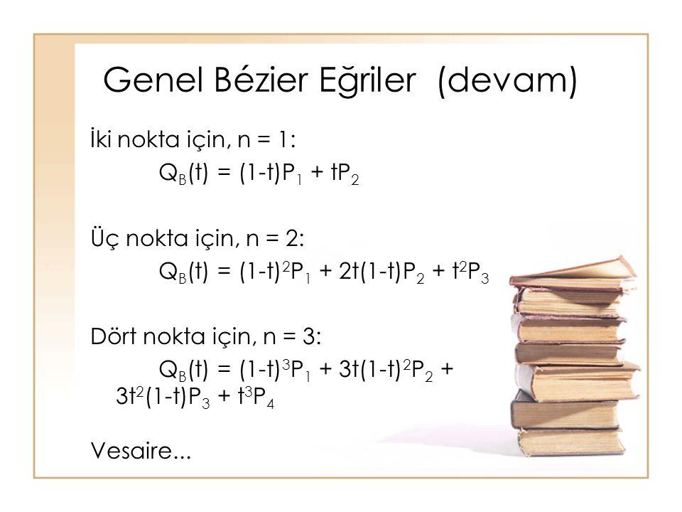 Genel Bézier Eğriler (devam) İki nokta için, n = 1: Q B (t) = (1-t)P 1 + tP 2 Üç nokta için, n = 2: Q B (t) = (1-t) 2 P 1 + 2t(1-t)P 2 + t 2 P 3 Dört