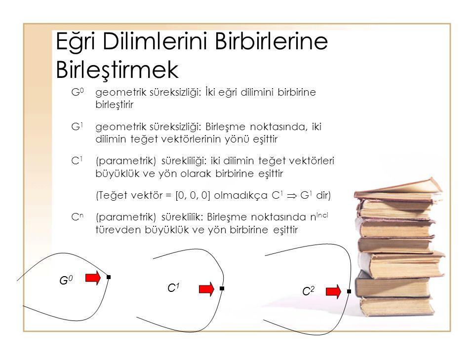 Eğri Dilimlerini Birbirlerine Birleştirmek G 0 geometrik süreksizliği: İki eğri dilimini birbirine birleştirir G 1 geometrik süreksizliği: Birleşme no