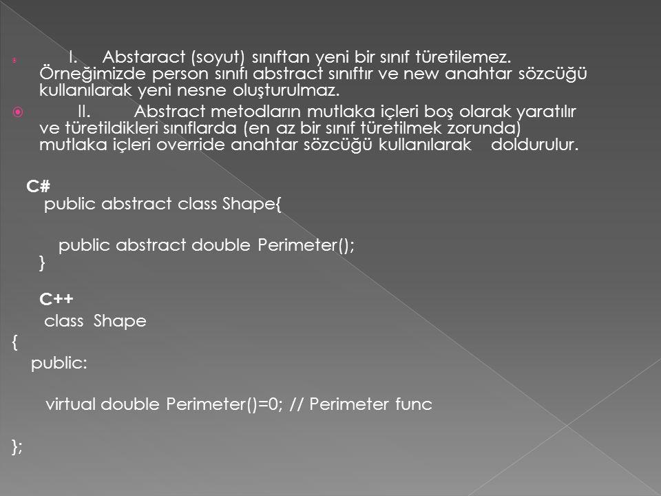  I.Abstaract (soyut) sınıftan yeni bir sınıf türetilemez.